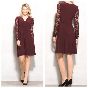Beyond By Ashley Graham Maroon Lace Sleeve Dress
